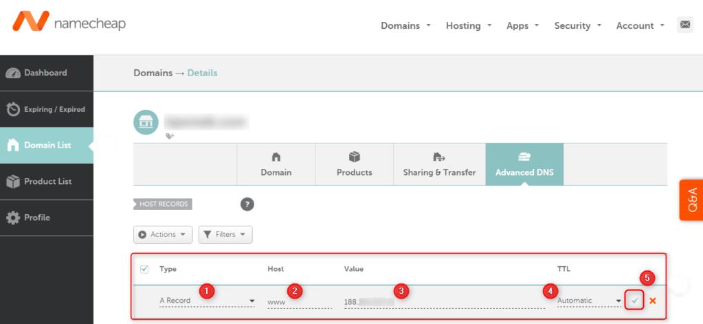 NameCheap DNS