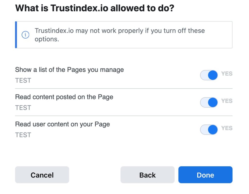 Allow Trustindex.io to read your content on the FB fan page.