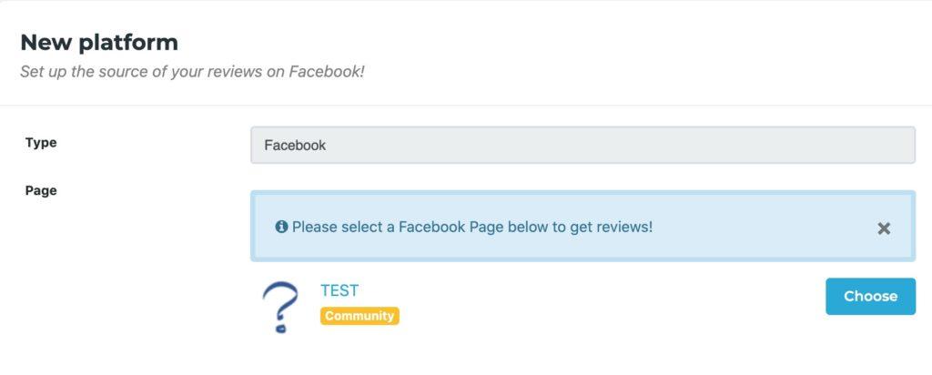 Choose FB fan page