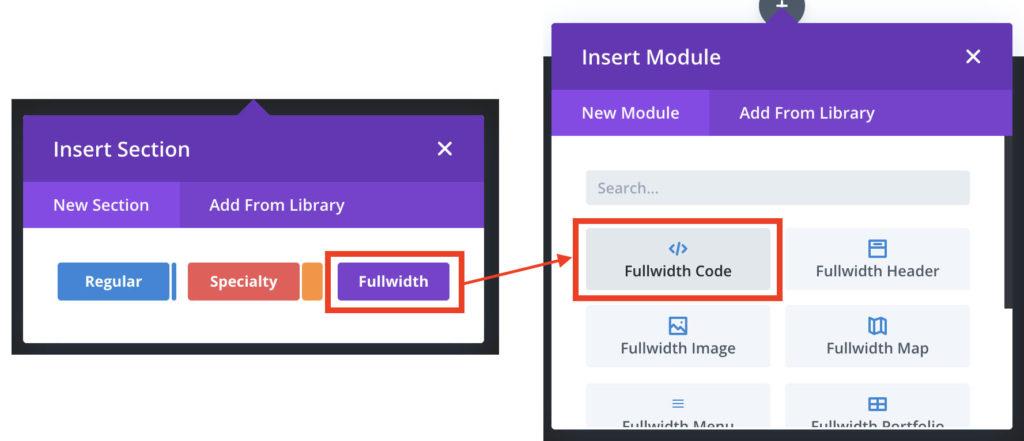 Select Divi code module